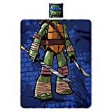 """Nickelodeon Teenage Mutant Ninja Turtles, """"Being Leonardo"""" Being The Character 11 Pillow and 40 50-inch Fleece Throw Set – by The Northwest Company, 1 Count (Pack of 1)"""