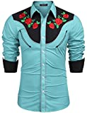 vintage cowboys shirt - COOFANDY Men's Stylish Casual Rose Floral Embroidered Western Long Sleeve Button Shirt(Blue,L)