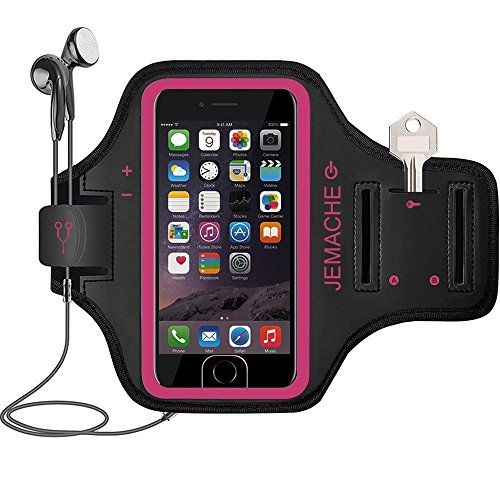 iPhone 6/6S/7/8/SE(2020) Brassard, JEMACHE Support Touch ID Courir Sports Exercise Gym Armband pour iPhone 6 6S 7 8 Se avec Porte Carte (Rosy)