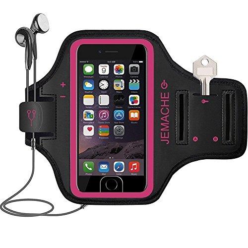 iPhone 6 7 8 SE(2020) Running Brazalete, JEMACHE Deportivo Correr Móvil Brazo Banda Funda para iPhone 6/6S/7/8/SE (2020) 4,7' - Dactilares Touch Apoyo (Rosy)