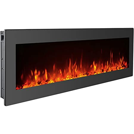 Gmhome 40 Inches Electric Fireplace Wall Mounted Freestanding Heater Crystal Stone Flame Effect 9 Changeable Flame Color Fireplace With Remote 1500w Black Home Kitchen