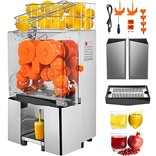 VBENLEM 110V Commercial Orange Juicer Machine, with Pull-Out Filter Box, Electric Citrus Juice Squeezer, 22-30 Oranges Per Minute, Lemon Making Machine, 304 Stainless Steel Tank and PC Cover