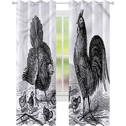 YUAZHOQI Cortinas opacas para dormitorio Gallus clásico diseño vintage de gallina para decoración de niños, cortinas personalizadas de 52 x 160 cm (2 paneles)