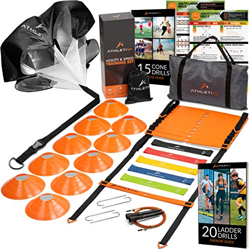 Athletivi Agility Ladder Speed Training Equipment - Ladder Kit with Fixed-Rungs, Cones, and Resistance Parachute Improves Coordination and Speed. Set for Football, Soccer, Basketball, Fitness Workout.