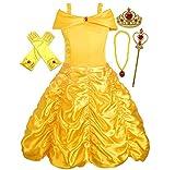 ALEAD Costume da Principessa Belle Vestiti ed Accessori di Guanti, Diadema, Bacchetta Magica Collana (4-5 Anni)