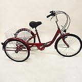 Triciclo per adulti, 3 ruote, per anziani, per adulti, triciclo con cestino e faro, 3 ruote da 24', 3 ruote con cestino e luce, per anziani, shopping, triciclo (rosso)