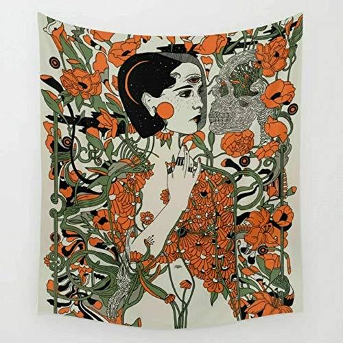 N/A Impresión 3D de tapices Mujer Vintage con Tapiz de Flores Arte Abstracto de la Pared Decoración de Colcha para el hogar Dormitorio decoración Pared 130 CM X 150 CM
