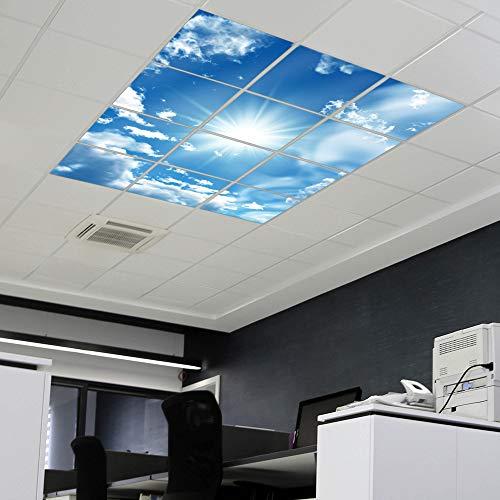 banjado LED Lichtdecke mit Acryl-Bild | Lichtdeckenplatte aus Acryl 180x180cm | Deckenpaneel mit Motiv Clouds | Panel für Deckenleuchte Rasterdecke