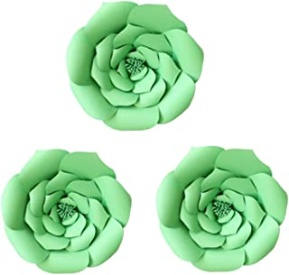 Daily Mall Paper Flower Decorations Giant Wedding Flowers Party Flower Backdrop DIY Handcrafted Flower for Nursey Birthday Wall Decor (Green, 3pcs-16)