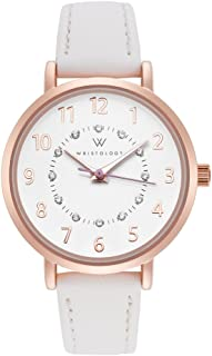 WRISTOLOGY Charlotte Numbers Womens Watch Rose Gold Petite Ladies White Leather Strap Band