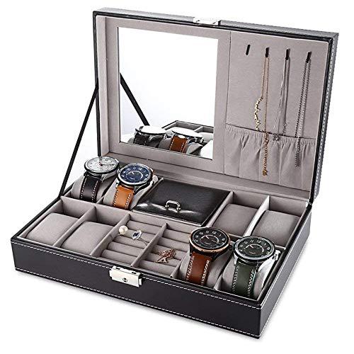 LHY HOME Cajas para Relojes de Cuero Bloqueable Multifunción Guarda Relojes para 8 Relojes