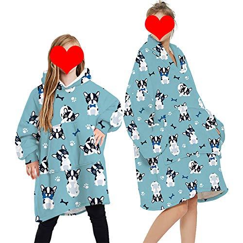 Parent Child Hoodie Blanket Oversized Cozy Soft Wearable Long Sleeves Warm Sweatshirt Cute Cartoon Animal Printed Soft Top Kangaroo Giant Pocket Homewear Blue Bulldog Child One size
