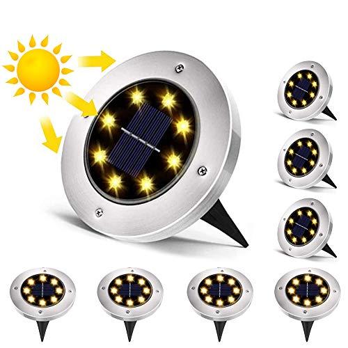 LUCKSWET Solar Bodenleuchten, 8 LEDS Solarleuchten Garten Solarlampen Gartenleuchten für Außen, 6000K Kaltweiß Solarlicht Garten Licht, IP65 Wasserdicht für Rasen, Patio, Hof, 8er Pack