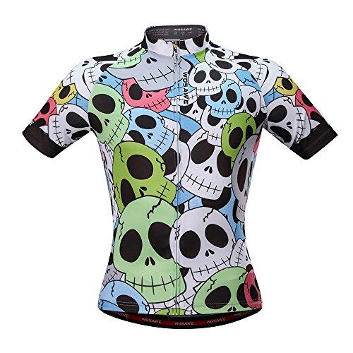 WOSAWE Uomo Ciclismo Maglia Bicicletta Abbigliamento per Uomini con Elastico Traspirante Rapido Corto Manica Camicia M