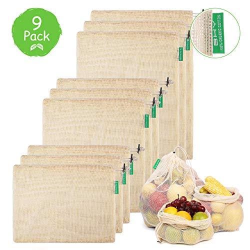 BHY Bolsa Reutilizable Algodon de Vegetales, Bolsas Reutilizables Compra, Bolsas de Malla Transpirables Adecuado para Frutas y Verduras Productos Frescos 9 Traje