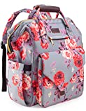 Diaper Bag Backpack, Upgraded Kaome Large Capacity Multifunction Nappy Bags, Waterproof Baby Bag Floral Insulated Durable Travel Maternity Back Pack for Baby Girls (with Diaper Pad, Bottle Bag)