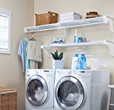 EZ Shelf - DIY Expandable Organizer Shelves for Laundry & Utility Room - Over Washer & Dryer Wall Storage - Wire Shelving Alternative - 2 Shelf Pack, Expands from 45 to 75' (1 Shelf has Hanging Rod)