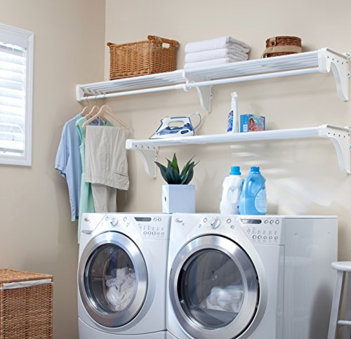 """EZ Shelf - DIY Expandable Organizer Shelves for Laundry & Utility Room - Over Washer & Dryer Wall Storage - Wire Shelving Alternative - 2 Shelf Pack, Expands from 45 to 75"""" (1 Shelf has Hanging Rod)"""