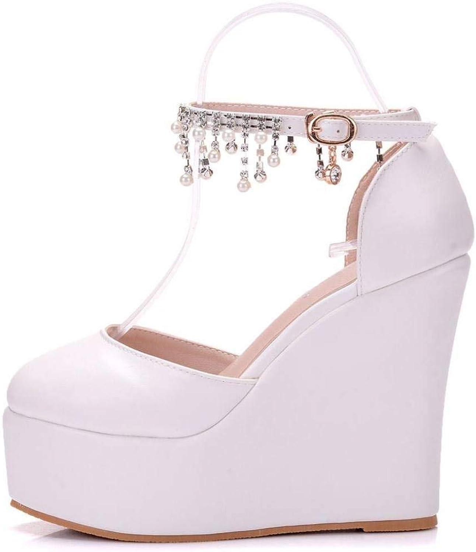 MEIZOKEN Womens Crystal Wedge Sandals Closed Toe Dress shoes Fashion Ankle Buckle Strap Platform Sandals