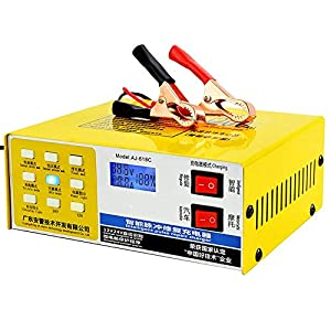 RSGK Cargador batería automóvil, protección reparación Pulso Inteligente 12 V / 24 V, Adecuada para Capacidad batería Agua 60AH-200AH, batería Seca, batería Plomo ácido, batería Libre Mantenimiento
