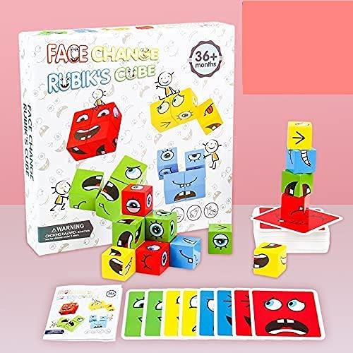 Jeu de blocs de construction en bois - Puzzle assortis avec expressions en bois - Puzzles Emoji assortis - Cubes de construction, jeux de Borad - Blocs de construction magiques changeant le visage
