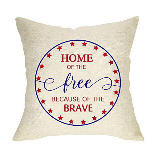 Fbcoo Home of the Free Because of the Brave Home Decorative Throw Pillow Cover, America Patriotic...