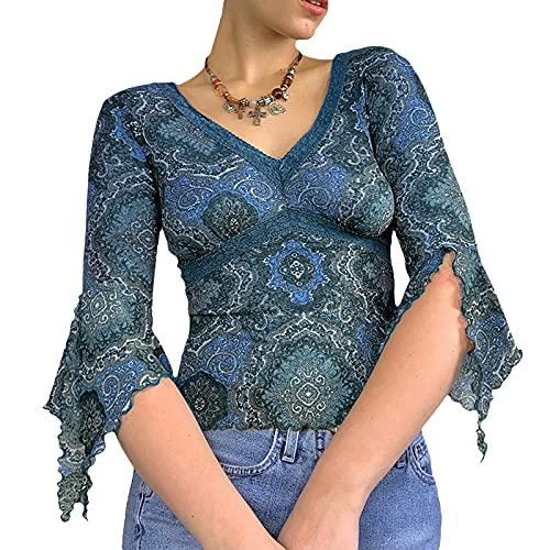 Camiseta de manga larga con estampado floral retro Y2K sexy malla ver a través de la camiseta de manga larga acampanada para mujer E-Girls 90s Streetwear, azul, L