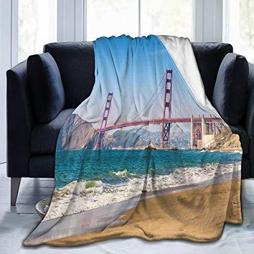 SIONOLY Soft Fleece Überwurfdecke,Panoramablick auf die Golden Gate Bridge San Francisco Coastline Nature Seascape,Home Hotel Bed Couch Sofa Überwurfdecken für Paare Kinder Erwachsene,75x125cm