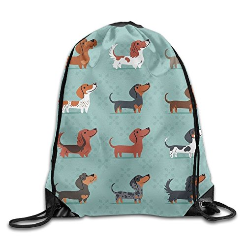 Fedso Drawstring Gym Sport Bag Sausage Dog Dachshund Casual Travel Bag For Unisex String Backpack