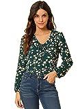 Allegra K Blusa de otoño con Volantes y Cuello en V con Lazo Floral Vintage para Mujer Verde Oscuro L