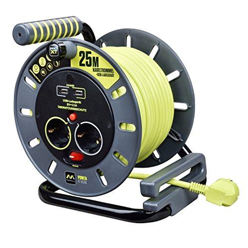 Masterplug Pro-XT robuuste L kabelhaspel met 2 stopcontacten, 25 m, 2x USB-A-aansluitingen met maximaal 2,1 A, schakelaar en thermische beveiliging, 1 stuk, OMG25162USL-PX