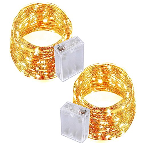 ONCIDIUM 2 Pack Fairy Light Battery Operated 33ft(10m) 100 LED Starry String Lights Waterproof Copper Rope Lights for DIY Garden Wedding Dinner Bedroom Christmas Decor Patio Outside Party(Warm White)