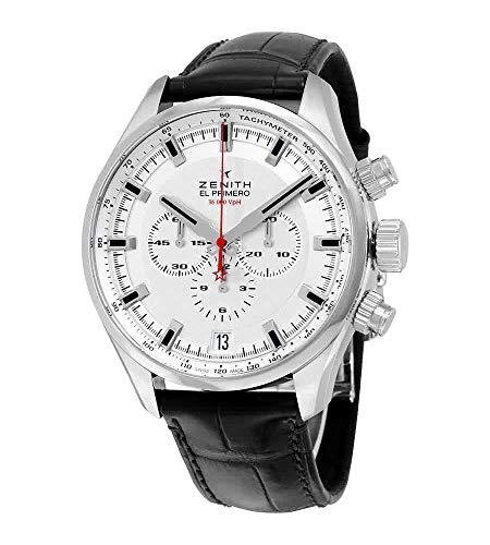 Zenith El Primero Sport Cronografo Automatico Argento Quadrante Marrone Pelle Orologio Uomo 03228040001C713