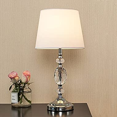 POPILION Decorative Chrome Living Room Bedside Crystal Table Lamp,Table Lamps With White Fabric Shade for Bedroom Living Room Coffee Desk Lamp