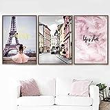 MYSY Rosa Paris Mädchen Traum Stadt Wandkunst Leinwand