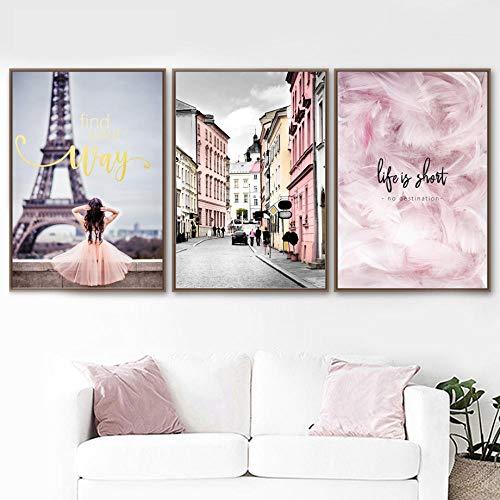 MYSY Rosa Paris Mädchen Traum Stadt Wandkunst Leinwand Malerei Schwarz Weiß Poster Wandbilder Für...