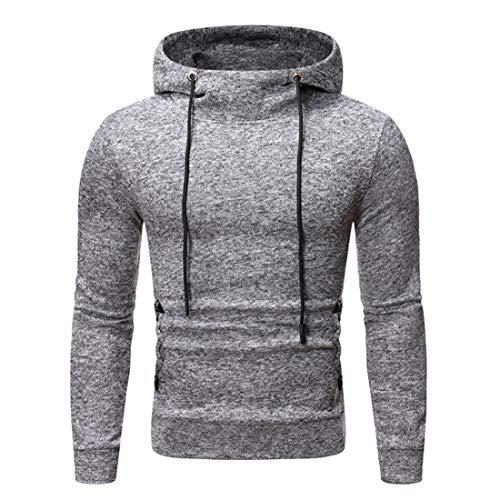 Sweatshirt Herren Hoodie Herren Bequeme Casual Cotton Blend Kordelzug Herren Pullovers Herbst Neue Langarm Soft Sports Style Outdoor Herren Streetwear B-Grey XL