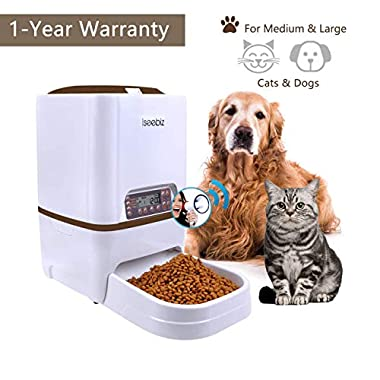 Iseebiz Automatic Pet Feeder, Cat Dog Food Dispenser 6 Liter Hopper, 4 Meals a Day with Voice Recorder, Portion Control, Timer Programmable, Food Dispense Remind, IR Detect, for Medium Large Cats Dogs