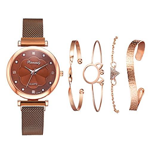 qwert Reloj de Cuarzo para Mujer Reloj analógico para Mujer con Correa de cerámica Reloj de Moda para Mujer Reloj de Pulsera para Mujer,Marrón