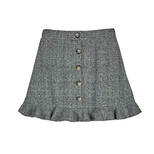 Amy Byer Girls' Button Front Pencil Skirt, Grey/Black Menswear Plaid, L