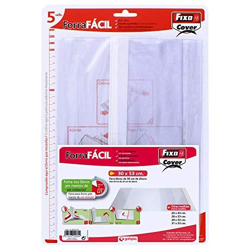 Fixo Cover 1009700-Pack de 5 forros para libros, ajustables, transparente, 30 x 53 cm