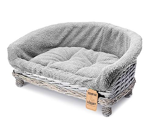 Tempar Luxury Handmade Half Moon Wicker Pet Cat Dog Sofa Couch Cushion Blanket Beds - FREE Replacement Cushion and Cover (Large, Grey)