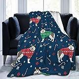 Beauty-Design Alaskan Malamute Suéter de Navidad para Perro, Manta de Forro Polar Suave y cálida para sofá, Cama, Coche, Viaje, Oficina, Manta de 60 x 50 Pulgadas