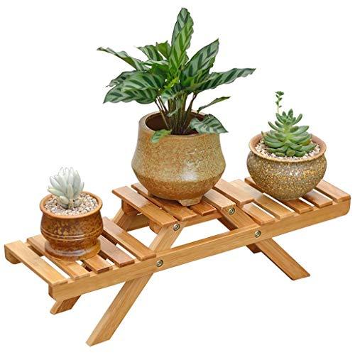 MADHEHAO Escritorio Estante de Almacenamiento de Flores 2 Niveles Bamboo Planta de jardín de múltiples Capas Estante de Maceta Estante de Flores de Interior Estante de Plantas Exhibición Balcón Sala