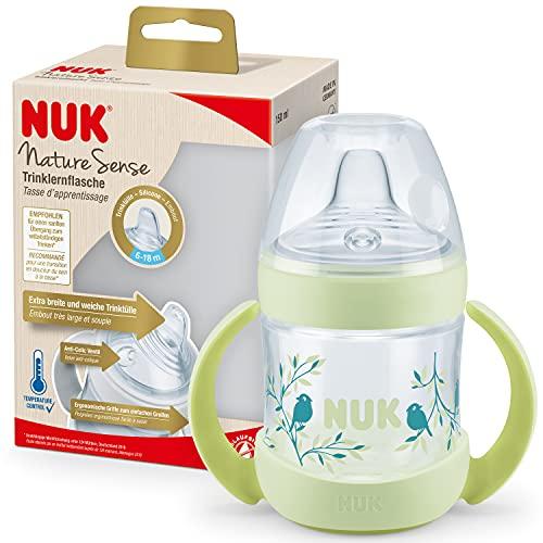 NUK Nature Sense Biberón para aprender a beber | 6 – 18 meses | 150 ml | Indicador de temperatura | Con asas ergonómicas y válvula anticólicos | Boquilla de silicona antigoteo | Sin BPA | Verde