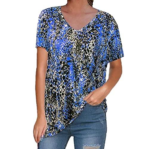 Camiseta de Manga Corta con Graffiti Irregular de Verano con Cuello en V Estampado de Leopardo Liso Camiseta Túnica Tops Casuales Camisas de Mujer Blusa con Cuello en V Tops Casuales