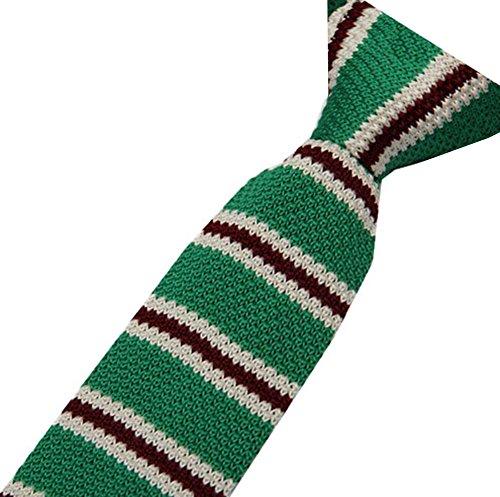S.R HOME Cravate mince pour homme Rayure Verte Noire bout carré de 6cm