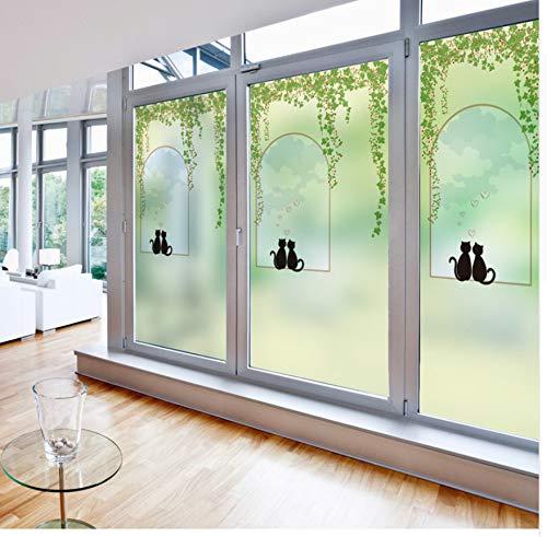 YFXGSTLI Fensterfilm Statisch Haftenden Fenster Film Mattiert Undurchsichtig Privatsphäre Glasmalerei Aufkleber Home Decor Digitaldruck Kuss Katze Benutzerdefinierte Größe