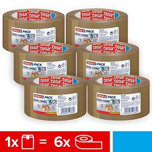 tesa 57177 Braun Ultra Strong im 6er Pack-PVC-Klebebänder für festes Verpacken und sicheres Bündeln 6 Rollen je 66 m, 66m x 50mm