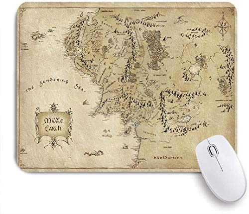 Gaming Mouse Pad,Lord of The Ring Map of Middle Earth,Non-Slip Rubber Base,Desk Mat for Office and Home,9.5 x 7.9in